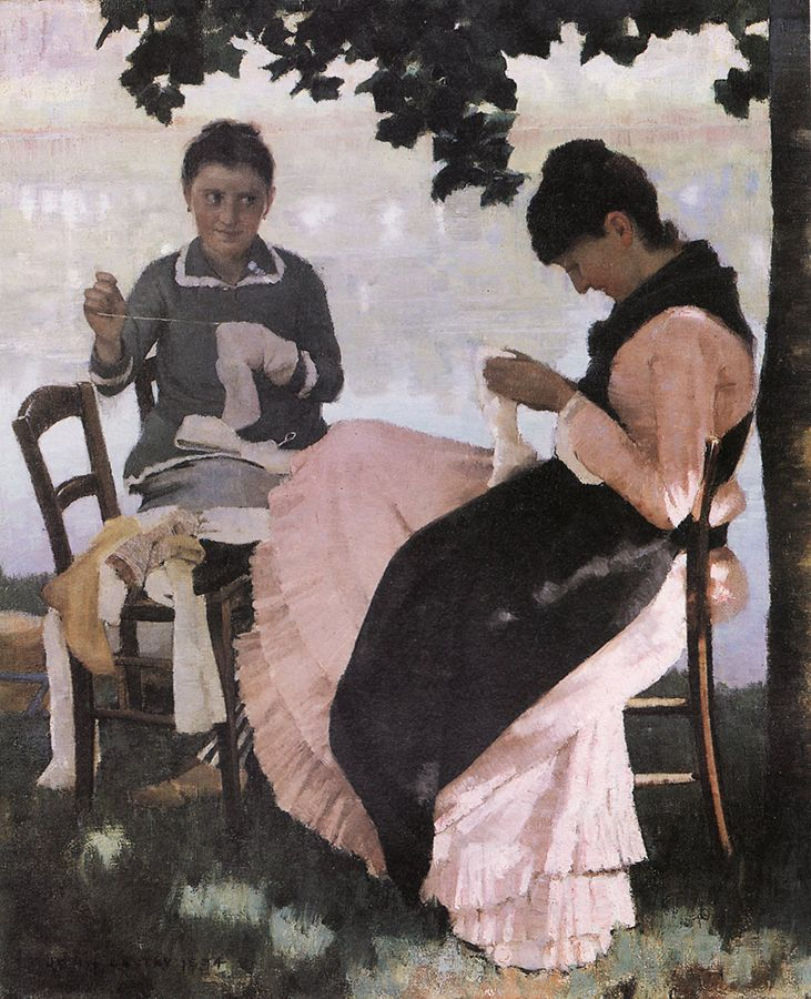 The Athenaeum - Sewing in the Shade (Sir John Lavery, R.A. - No dates listed)
