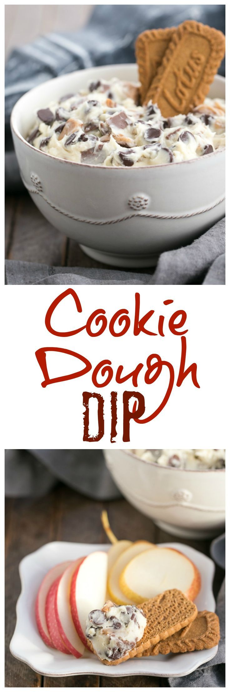 Cookie Dough Dip | A dreamy dip filled with chocolate chips and toffee pieces! @lizzydo