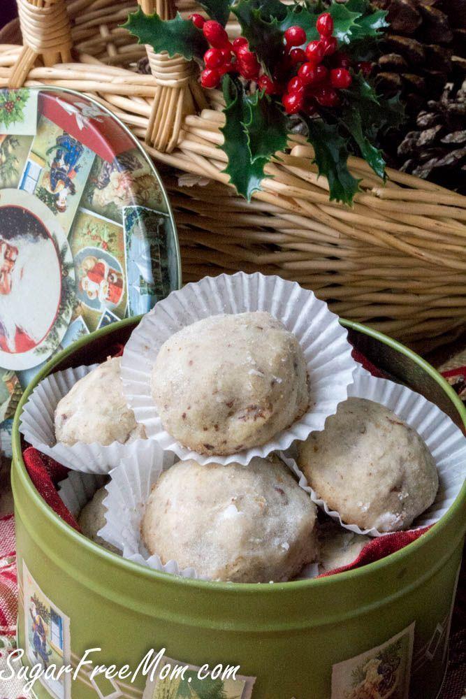 Sugar-Free Low Carb Paleo Pecan Snowball Cookies- gluten free, grain free, http://www.sugarfreemom.com /earthbalance/