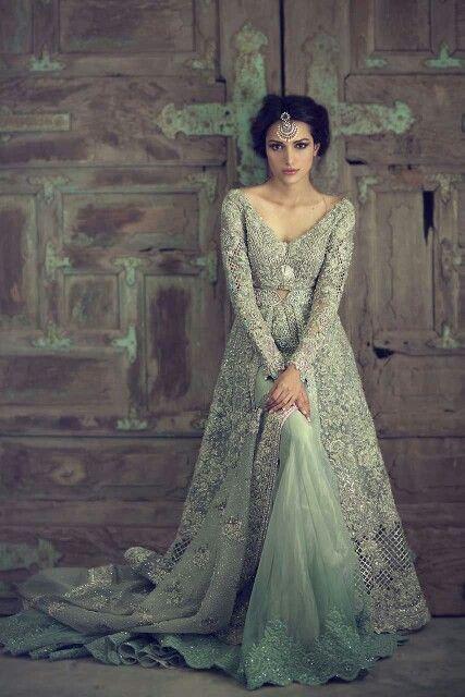 Beautiful Mint/Silver Anarkali Lehenga