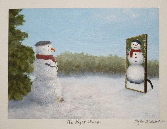 "Whimsical painting of snowman by Phyllis Andrews called ""The Right Mirror."" on Etsy, $112.58 CAD"