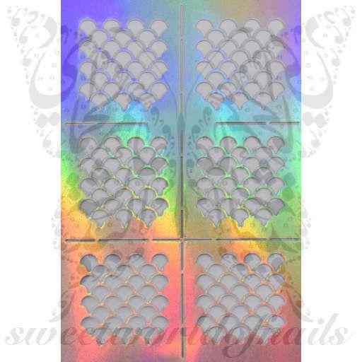 Fish Scale Nail Vinyls Nail Art Stencil Stickers /2 Sheets