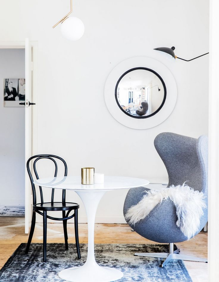 Classic bentwood chairs in the bright, light drenched Thonet No.18 bentwood chair painted black.Photo – Nikki To, Production – Lucy Feagins / The Design Files.