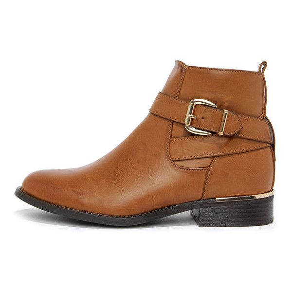 Desert Rose Tan Ankle Boots ($57) ❤ liked on Polyvore featuring shoes, boots, ankle booties, ankle boots, brown, low heel booties, brown boots, wide booties and tan ankle booties