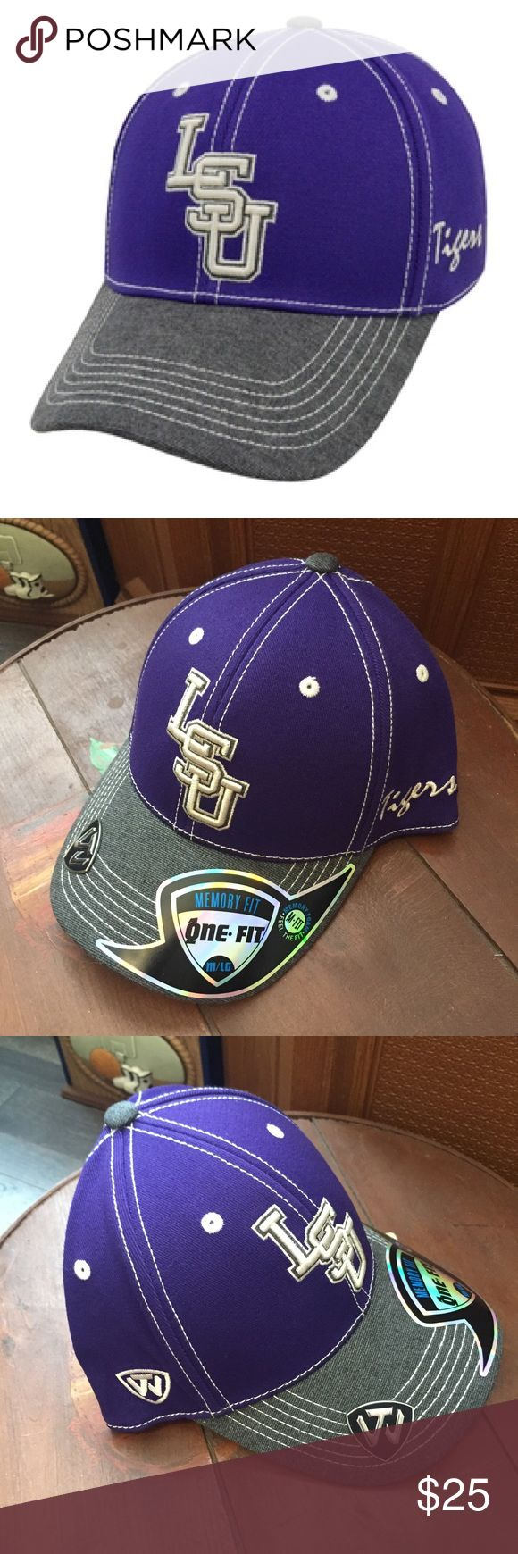 🆕 LSU High Post Hat NWT Memory Fit Tigers NCAA Brand new with tags! Thank you for looking! Louisiana state university medium large unisex men or women NCAA Accessories Hats