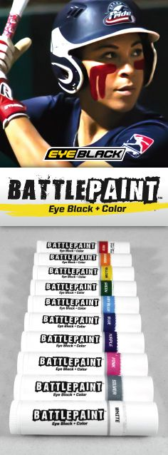 NEW - EYEBLACK + COLOR = BATTLEPAINT! The Official Eye Black of National Pro Fastpitch.  Available in 10 different colors and only $5.99 per tube!