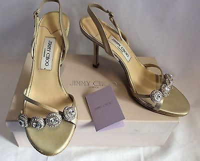 JIMMY CHOO NUDE SILK SATIN JEWEL STRAPPY HEEL SANDALS SIZE 7/40 - £150 Whispers Dress Agency - Womens Sandals - 1