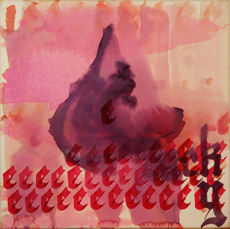 Maciej Olekszy, Lucky, atrament, papier naklejony na płótno, 50 x 50 cm, 2013