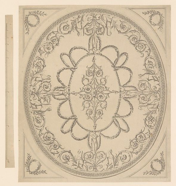 Design for a Ceiling, an Oval within a Square, having a Criss-cross Border to the Oval, for Ampthill Park, Bedfordshire Sir William Chambers,  British