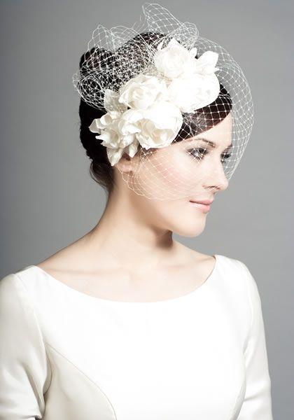 R1441 - Silk teardrop with silk taffeta roses and face veil. Rachel Trevor Morgan.