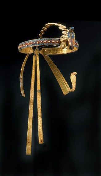 Diadem of Tutankhamun. This crown, studded with semipreciois stones, was found on the head of King Tutankhamun's mummified body and was probably worn by the pharaoh in life.