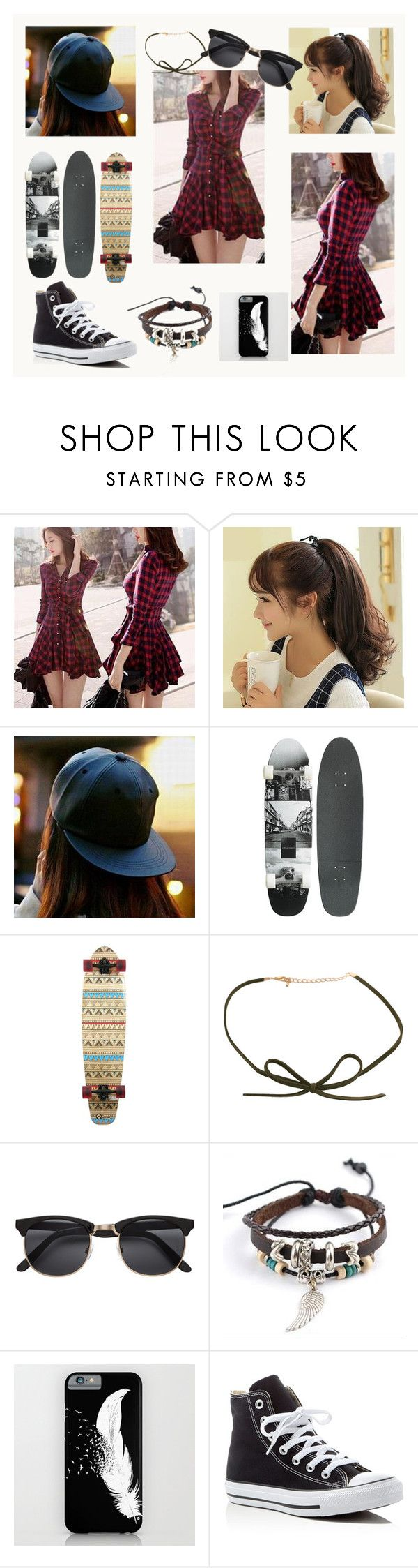 """""""Skater Girl"""" by lucykeys ❤ liked on Polyvore featuring Mayfair, Hats 'n' Tales, Trend Cool, Converse, converse, shirtdress, cap, skate and choker"""