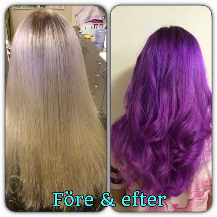 Before and after. Purple hair