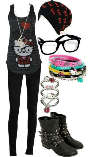hello kitty nerd outfit