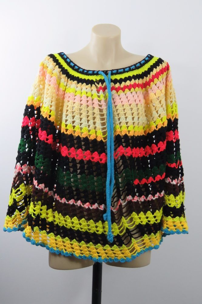One Size Ladies Crochet Tunic Poncho Boho Chic Casual Gypsy Hippy Layer Design #Handmade #Poncho #Casual