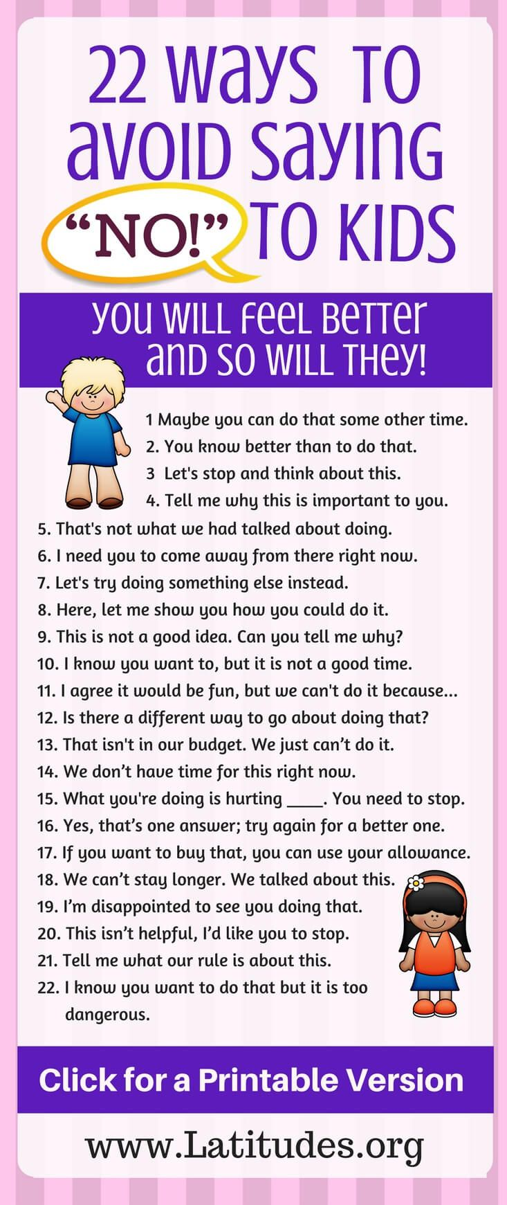 "22 Ways to Avoid Saying ""NO"" to Kids #ParentingTIps #ChildBehavior #TeacherTips #parenting #ClassroomBehavior #ParentingHacks"
