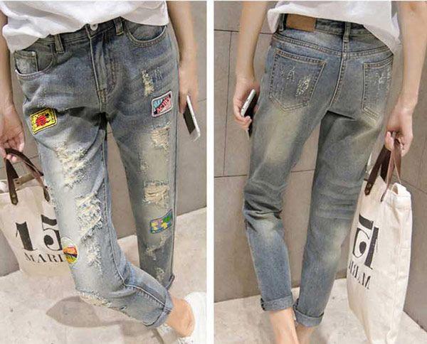 Celana Panjang Jeans Robek Wanita Online Terbaru B2826