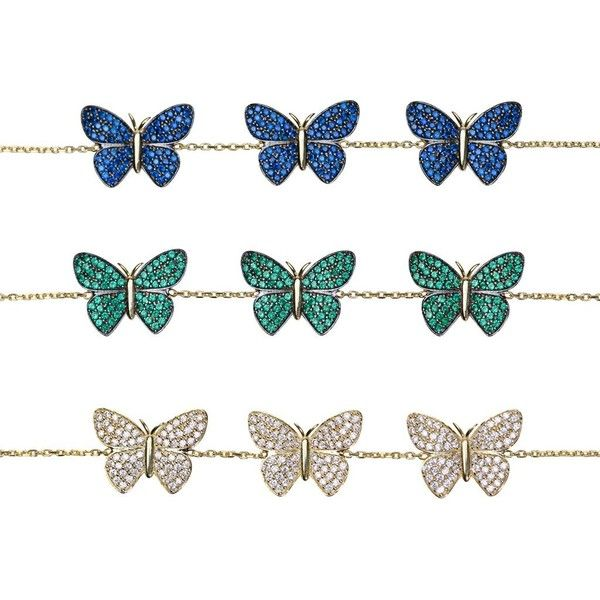 Siena Butterfly Bracelet ($81) ❤ liked on Polyvore featuring jewelry, bracelets, chain pendants, butterfly pendants jewelry, butterfly pendant, monarch butterfly jewelry and butterfly bangle