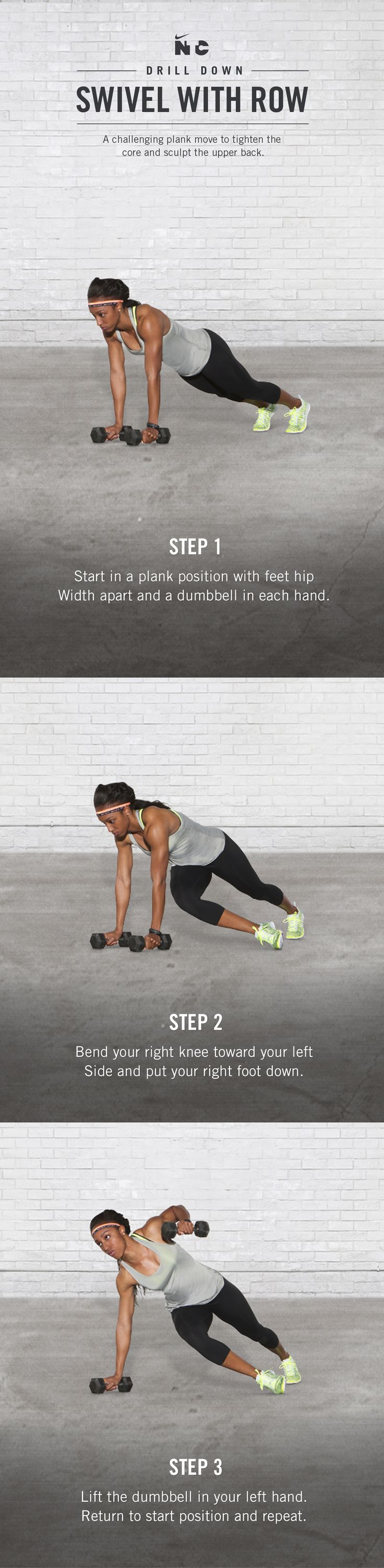 Train anytime, anywhere. Take your ab routine to the next level with the Swivel with Row drill in Brianna Rollins' Race Ready workout on Nike+ Training Club.
