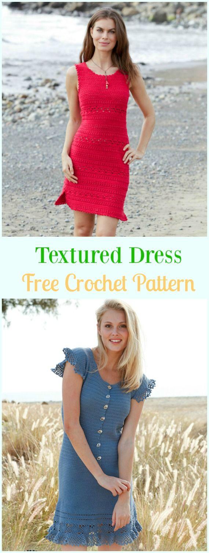 Crochet Textured Dress Free Pattern - #Crochet Women #Dress Free Patterns
