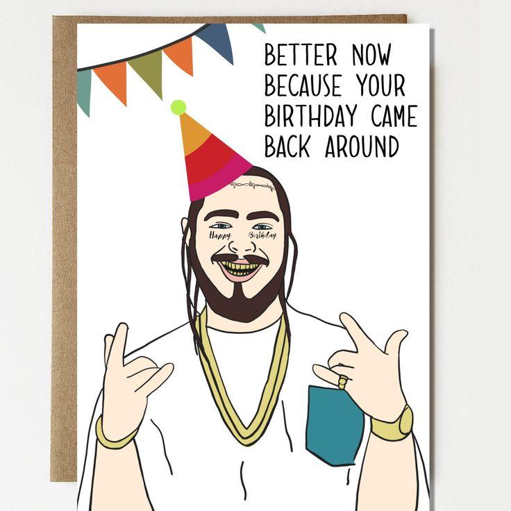 Funny Post Malone Inspired Birthday Card Birthday Gift