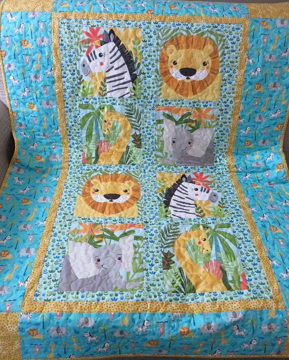 5a4f75c0c62b6 Safari Jungle Baby Quilt, Lion Zebra Elephant Giraffe Quilt, Gender ...