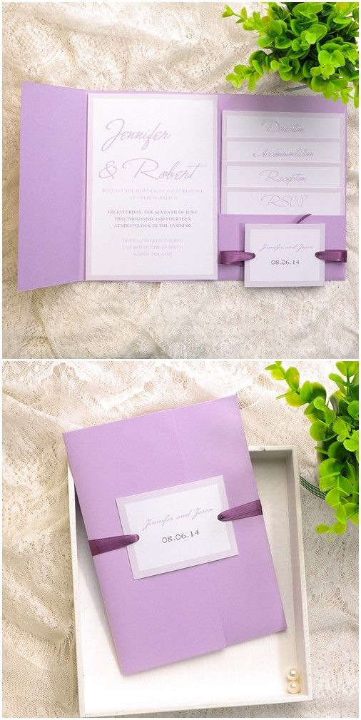 cheap simple lavender pocket wedding invitations EWPI124