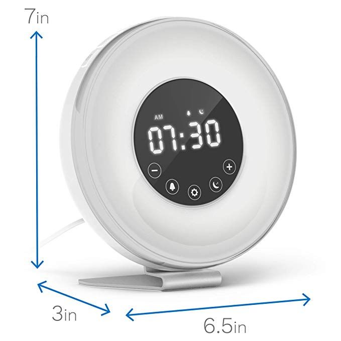 Digital LED Clock w// 6 Color Switch and FM Radio hOmeLabs Sunrise Alarm Clock