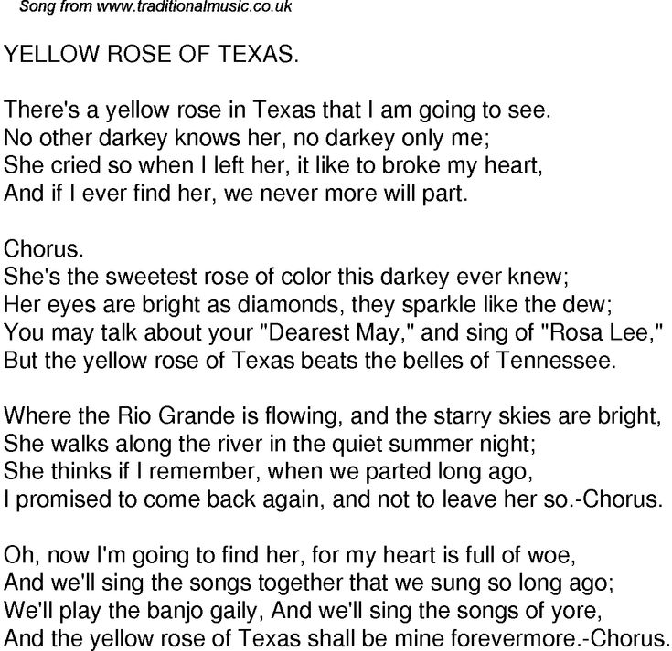 Yellow Rose of Texas - song, click to enlarge hopefully - durable power of attorney form