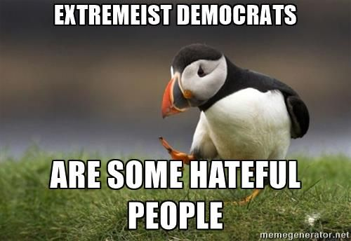 Unpopular Opinion Puffin - Extremeist democrats Are some hateful people