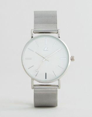 ASOS CURVE Silver Clean Mesh Strap Watch