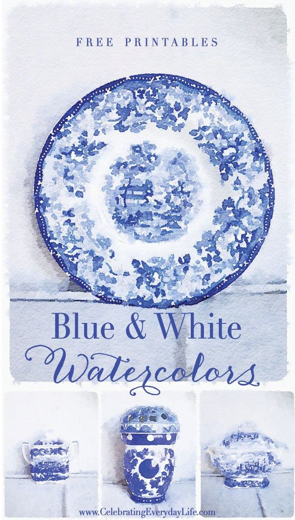 Free Printable Blue & White Watercolors – Set One | Free art download
