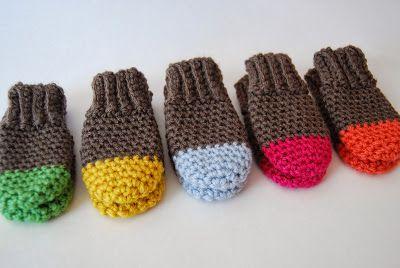Crochet Two Tone Baby Mittens - Tutorial  ❥ 4U // hf