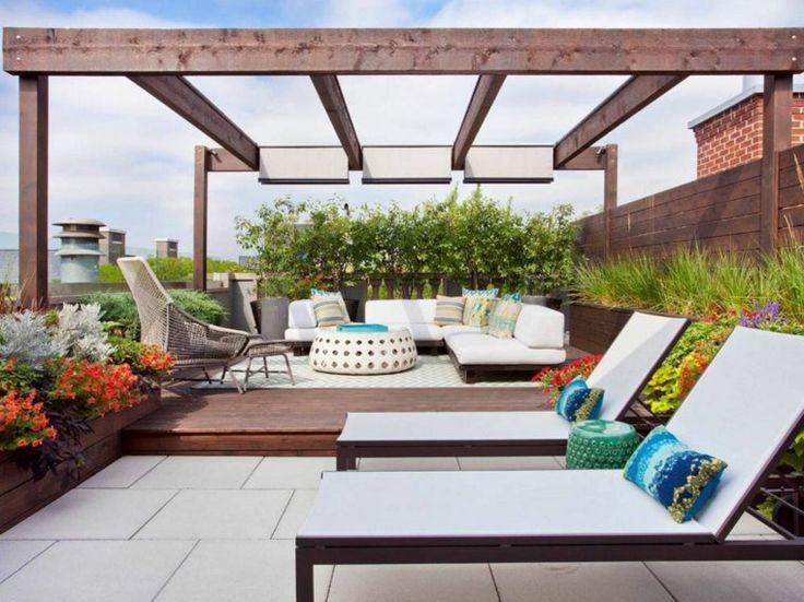 pergola en bois moderne et terrasse