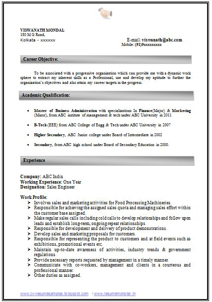 resume formats for experience