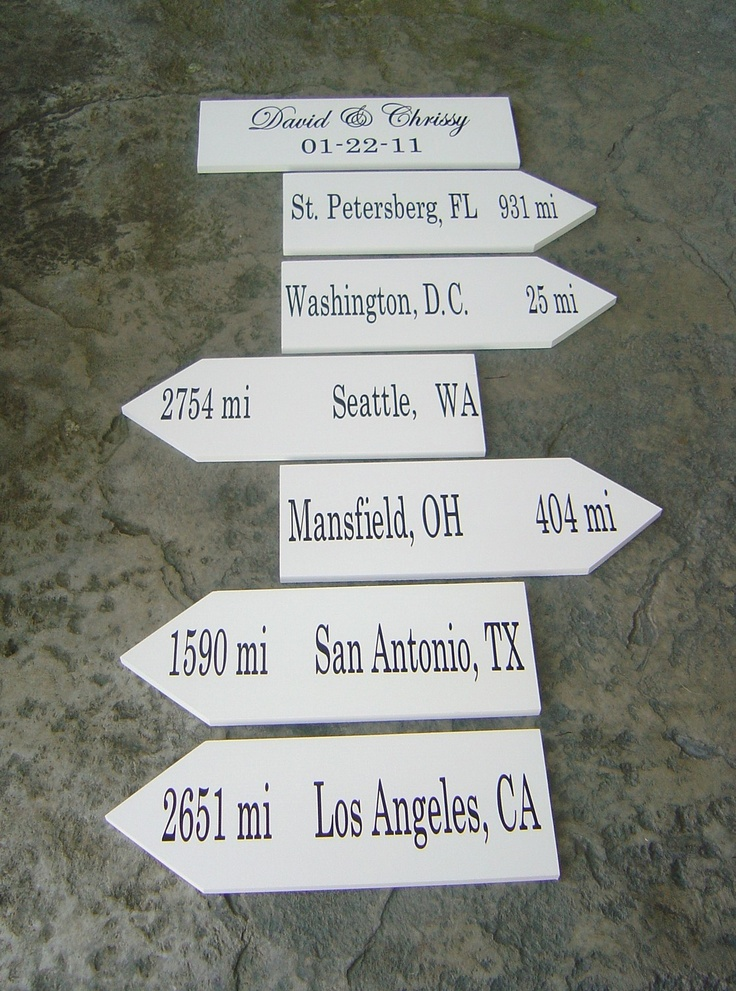Wood Wedding Signs.  Personalized Wedding Directional Signs with Arrows showing Cities and Miles traveled.. $194.95, via Etsy.  Want to steal this idea!!