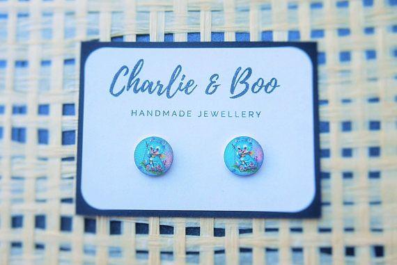 Stainless Steel 12mm Printed Wood Stud Earrings Kitten Fishing Stud Earrings Australian Handmade Small Business Charlie and Boo