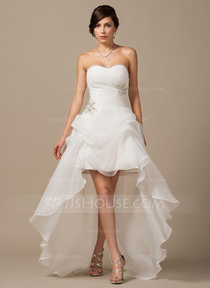 Forme Princesse Bustier en coeur Traîne asymétrique Organza Robe de mariée avec Plissé Emperler Sequins (002064197) - JJsHouse