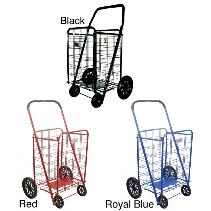 <li>Shopping cart ideal for carrying groceries or laundry<li>Easy-to-assemble personal shopping cart folds flat for storage<li>Shopping cart comes in royal blue, red and black color options