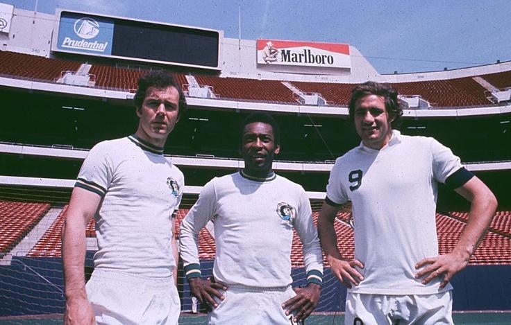 Franz Beckenbauer, Pelé and Giorgio Chinaglia no New York Cosmos. NASL champions 77
