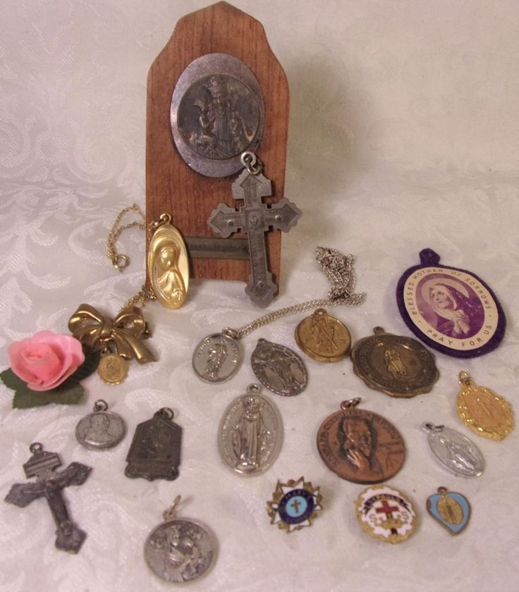 Vintage Religious Catholic medal Charm Lot Enamel Pins Pendants Italy Saints Lot   Collectibles, Religion & Spirituality, Christianity   eBay!
