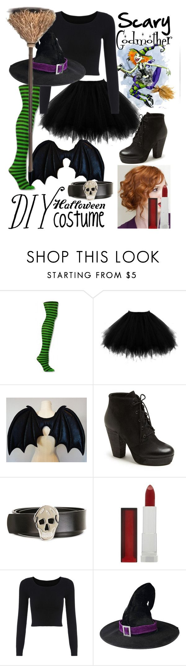"""Scary godmother DIY"" by ur-simply-unique ❤ liked on Polyvore featuring Steve Madden, Alexander McQueen, Maybelline, halloweencostume and DIYHalloween"