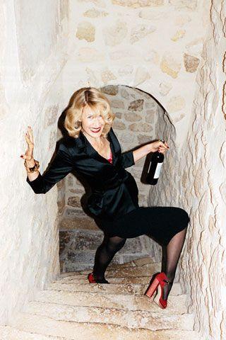 This Jurgen Teller photo of Laura Dern in a wine cellar is my new favorite thing