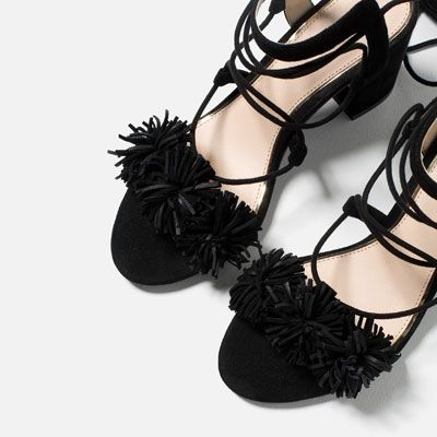 HIGH HEEL LEATHER LACE-UP SANDALS-View all-SHOES-WOMAN | ZARA Romania