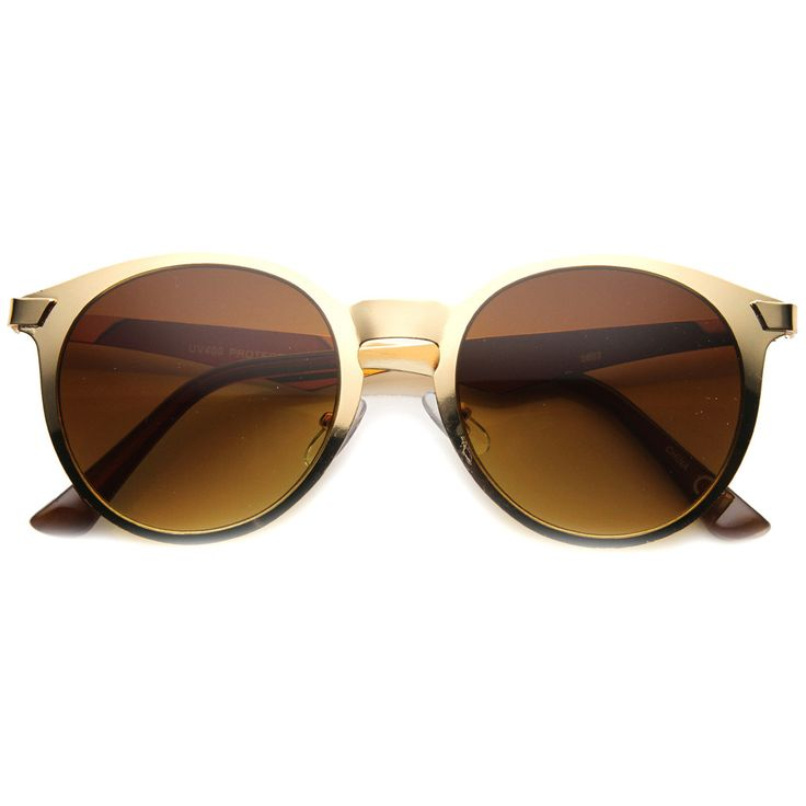 Modern P3 Horned Rim Low Profile Round Metal Sunglasses 9820 - zeroUV