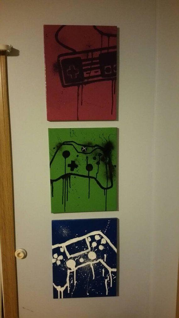 custom gamer canvas 11x14 ps4 ps3 playstation xbox 1 nintendo sega wall decor ready to hang - Manette Ps3 Color