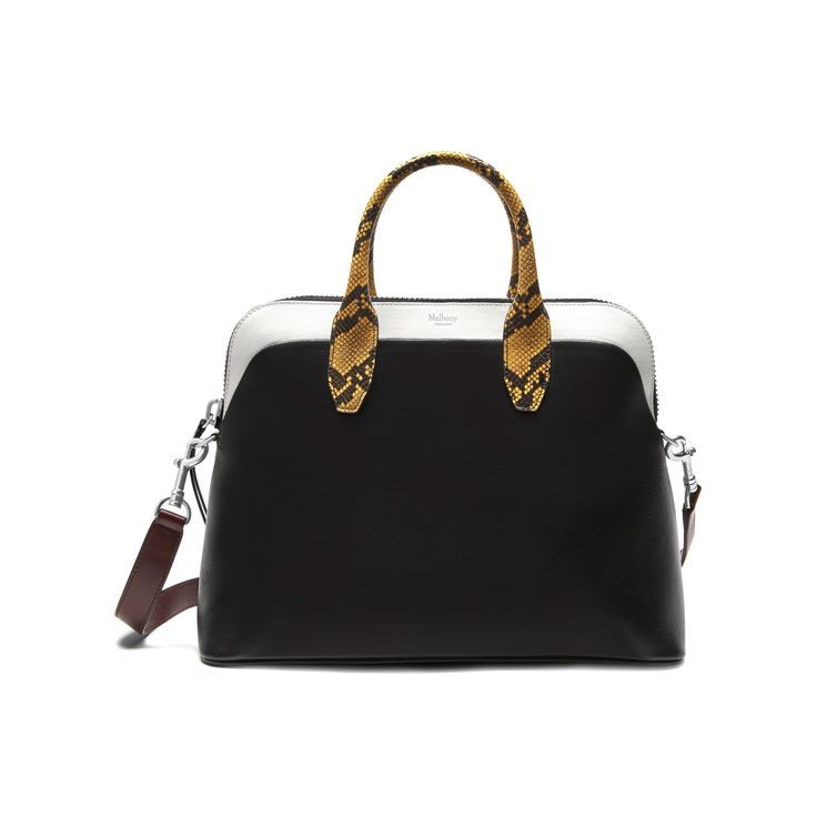 Mulberry - Colville in Black & White Smooth Calf Leather with Canary Ayers Snakeskin trim