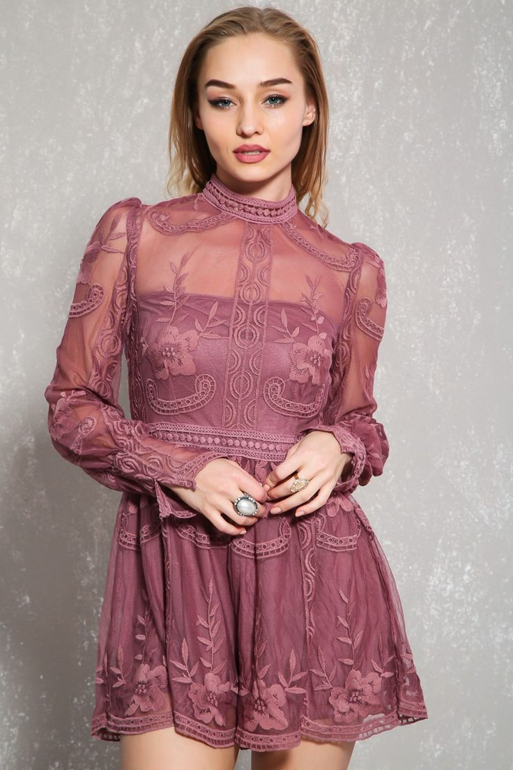Crochet lace empire dress with satin skirt and stockings