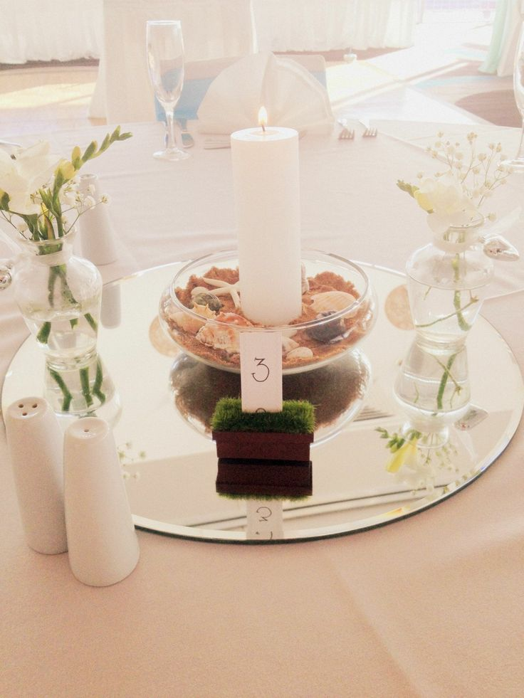 Beach Theme centrepiece with a pillar candle inside a half fish bowl with sand & shells with fresh freesias.