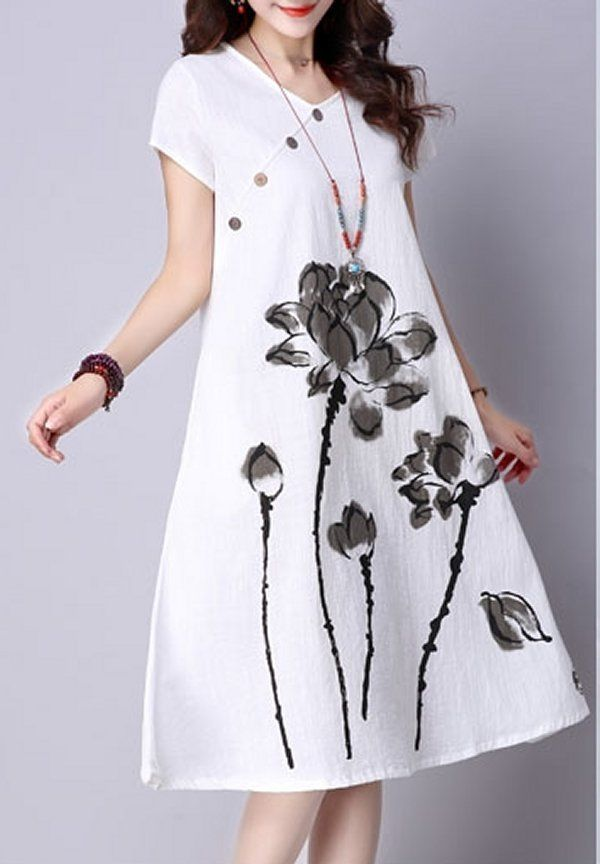 Women loose fit over size water lily flower ethnic dress pocket tunic fashion #Unbranded #dress #Casual